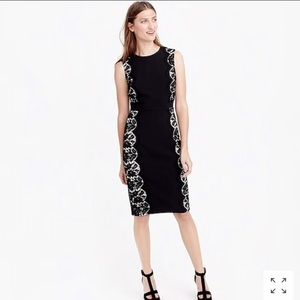 J.Crew Black Sheath Dress with Lace Panels